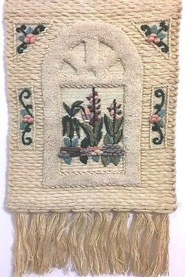 Woven Wall Hanging ICA Tapestry Garden Theme Fiber Art Vintage India 16x20