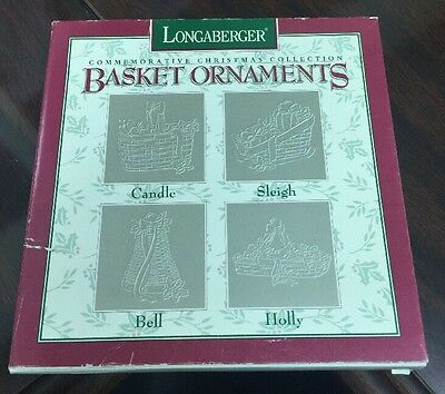 Longaberger Pewter Basket Ornaments 1994 Set 4 Candle,Sleigh,Bell,Holly