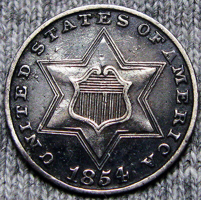 1854 Silver Three Cent Piece 3cp --- TYPE COIN --- #N309