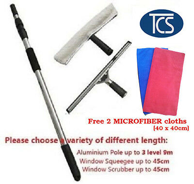 Extendable Window Cleaning Set Kit Telescopic Pole Up To 4.5M Cleaner Squeegee