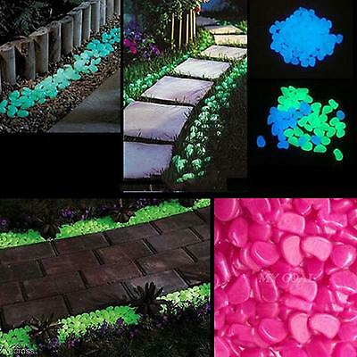 100pcs Pebbles Stones Glow in the Dark Garden Decoration For Fish Tank Aquarium