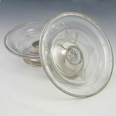 Pair Antique French Sterling Silver Crystal Footed Compotes Centerpieces Tazza