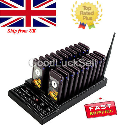 999CH Restaurant Wireless Paging System 20 Call Coaster Pagers 433.92MHz 10mA UK