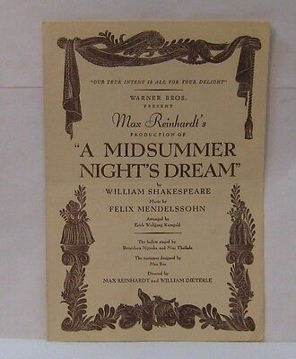 1935 Max Reinhardt Midsummer Night's Dream Film Program Cagney Rooney DeHaviland