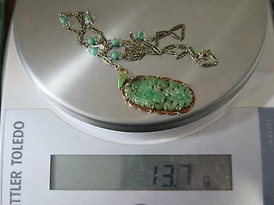 Authentic Antique Art Deco Jade Jadeite 14Kt Gold Chinese China Pendant Necklace