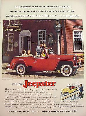 1949 Jeepster In Front Of Nantucket Antique Shop Willys Overland Print Ad