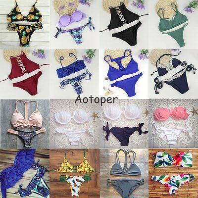 Women Bandage Bikini Set Push-up Padded Swimsuit Triangle Swimwear Bathing Suit