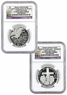 2016 Vatican €5 and €10 Set of 2 Silver Proof Commems  NGC PF70 ER -RARE- Pop 8