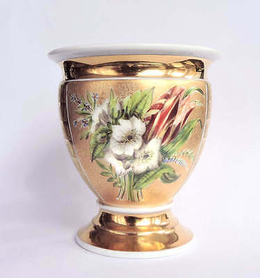 Old Paris French Porcelain Gold Cup HP Flowers Pedestal