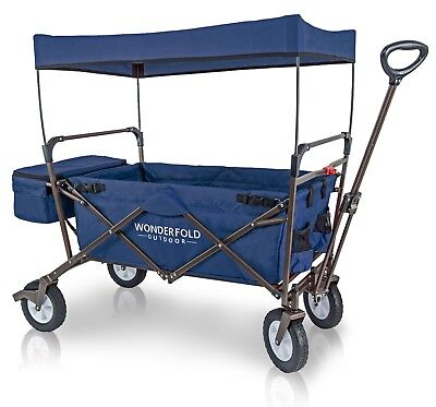 WonderFold Outdoor Value Model Folding Wagon w/ Canopy Sturdy Stand Blue