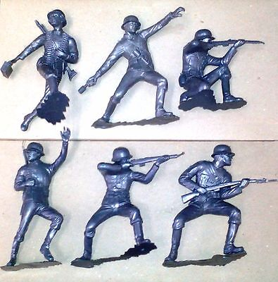 "Marx Wwii German Soldiers Figures Recast 6"" Different Positions Silver Color"