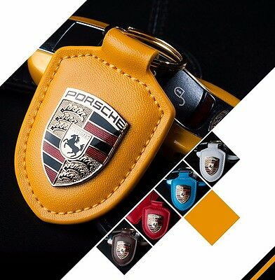 New Porsche Logo Leather Key Chain Ring Decal 911 Panamema Cayenne Cayman Turbo