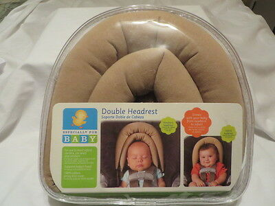 Especially for Baby Double Headrest, Tan, 100% Cotton, Grows w/Baby to Infant