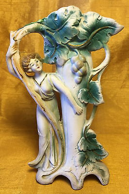 "Antique 6.25"" Germany Bisque Porcelain Grape Vine VASE w Victorian Lady Figurine"