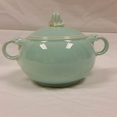 LuRay Pastels Sugar Bowl with Lid Seafoam Green Vintage MCM Double Handled TS&T