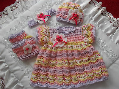 "Hand Knitted Reborn Dress Set 0-3 Month Baby / 20""-22"" Reborn Doll"
