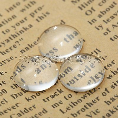 100X 10mm Crystal Clear Round Cabochon Flat Back Glass Dome Tile Jewellery Makin