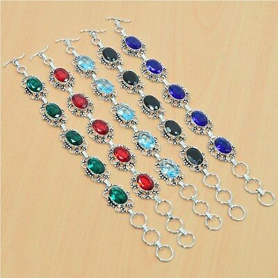 925 Sterling Silver Plated Wholesale 5Pc Faceted Garnet & Mix Stone Bracelet Lot