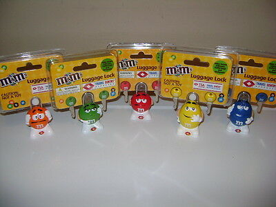 M&M's LUGGAGE LOCKS. 5 COLORS WITH 2 KEYS m&m SET. NEW IN PACKAGE. TSA APPROVED.