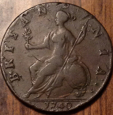 1740 Uk Gb Great Britain Half Penny In Beautiful Condition !