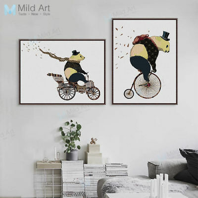 Vintage Panda Bicycle A4 Poster Prints Home Decor Wall Art Bike Canvas Painting