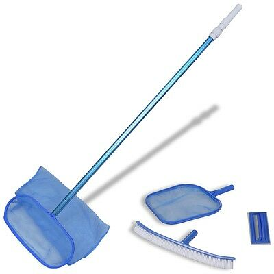 #sNew Swimming Pool Spa Cleaning Tool Set Leaf Skimmers / Brush / Scrubber /Pole