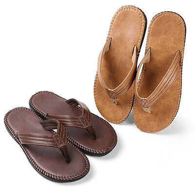 Men's Summer Beach Leather Casual Sandals Thong Flip Flops Slippers Flat Shoes
