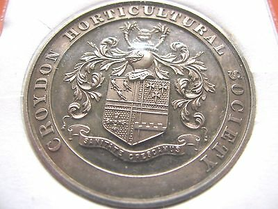 Gb Circa 1928 Large Silver Medal Croydon Horticultural Society Unattributed