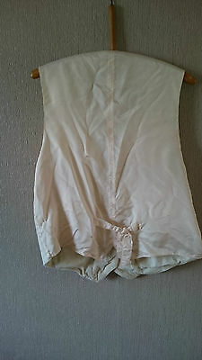 Vintage Cream Ladies Waistcoat with Soft Corduroy Front & V Neck - Large 42""