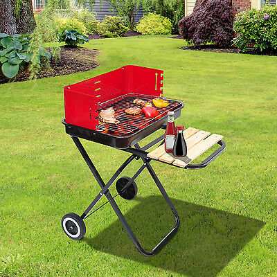 Outsunny Portable Charcoal Grill Outdoor Folding Barbecue Trolley BBQ Heat Smoke