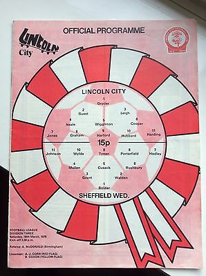 Lincoln City v Sheffield Wednesday Official programme 18th March 1978 Division 3