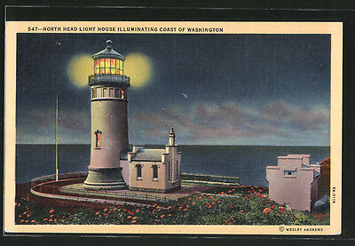 schöne AK North Head Light House illuminating the Coast of Washington 1949