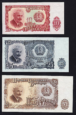 3 x BULGARIA BANKNOTES EXCELLENT CONDITION AUN
