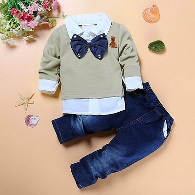 2pcs Toddler Baby Boys Kids Shirt Tops+Jeans Pants Clothes Outfits Gentleman Set