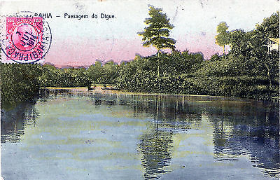 BRAZIL -Brasil -BAHIA -Paesagem do Digue  postcard posted 1914 STAMP
