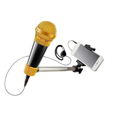 SelfieMic Karaoke Selfie Stick Music Set Record Video Microphone Earpiece -Black