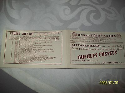 Carnet Complet France 20 T Type Muller Gueules Cassees   S 4.56    Cote ++++