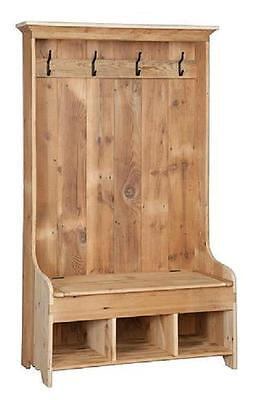 "Reclaimed Antique Barn Wood Hall Tree Bench Cubbie Storage-Unfinished- Pine 43""w"