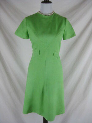 Vtg 50s 60s Green Womens Vintage Linen Cocktail Party Dress W 28