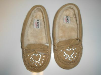 Girls Moccosins Slippers Size S (11-12)  Tan Leather