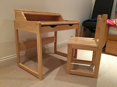 Child's wooden desk and chair kids childs