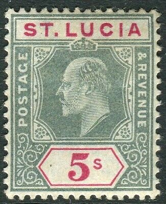 ST LUCIA-1905 5/- Green & Carmine.  A mounted mint example Sg 76
