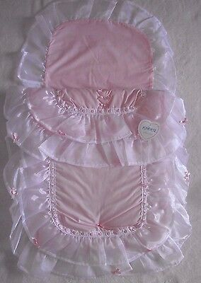 Stunning Romany Spanish Style Pink Pram Set Quilt & Pillow Case  by Kinder