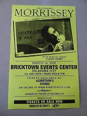 Morrissey concert Poster flyer 11x17 tiger army 2006 Collectible