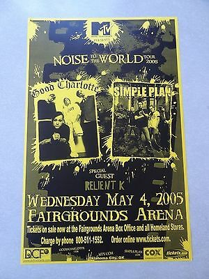 Good Charlotte  concert Poster flyer 11x17 200 Simple Plan Relient K yellow