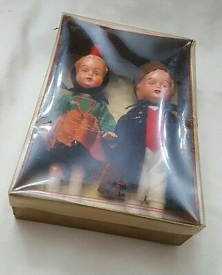 NOS Edi Puppen Celluloid Plastic Germany Dolls 6 1/2 Boy and Girl vintage in box