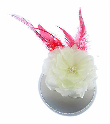 Cream and red feather fascinator cap with long clip for weddings, races, prom