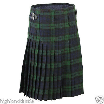 Black Watch Kilt Scottish With Two Buckle, Casual Kilt, Size 34""