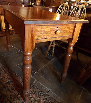 Antique Victorian small country PITCH PINE KITCHEN TABLE 2 drawers turned legs