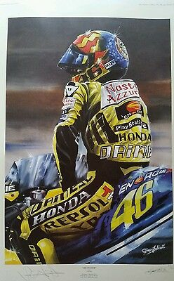 Limited Edition Signed  Print Of Valentino Rossi. Signed By The Vale. Coa